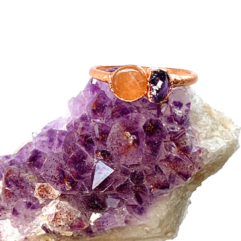Sunstone and Amethyst Ring