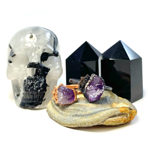 Amethyst Spiderweb Ring