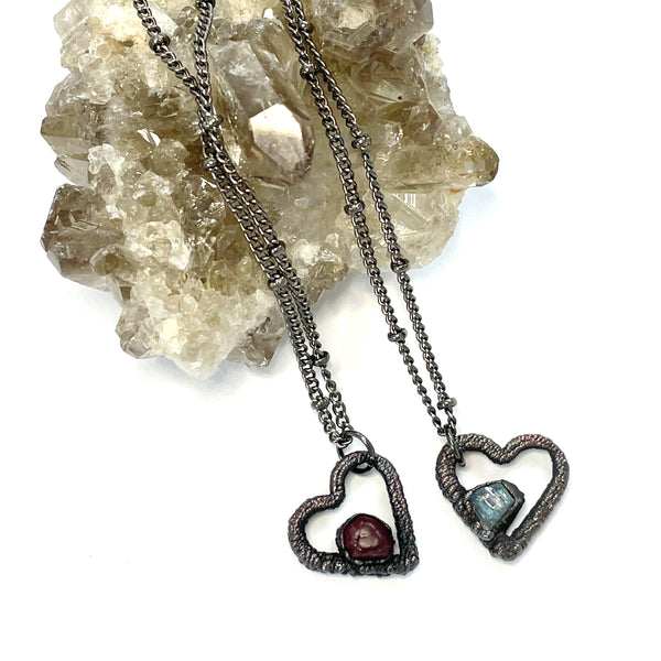 Tiny Spinel Heart Necklace | August Birthstone