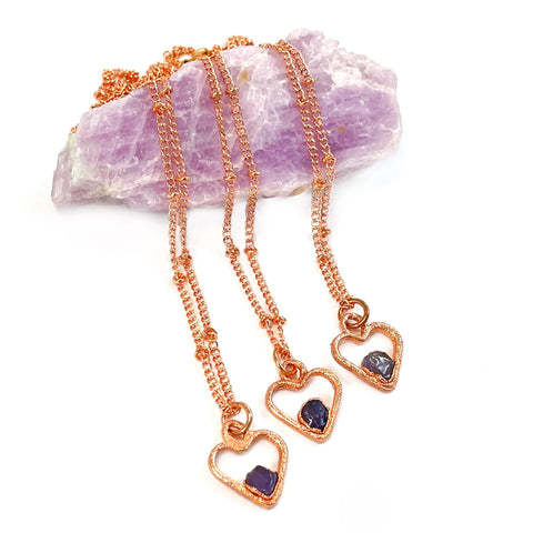 Tiny Amethyst Heart Necklace | February Birthstone