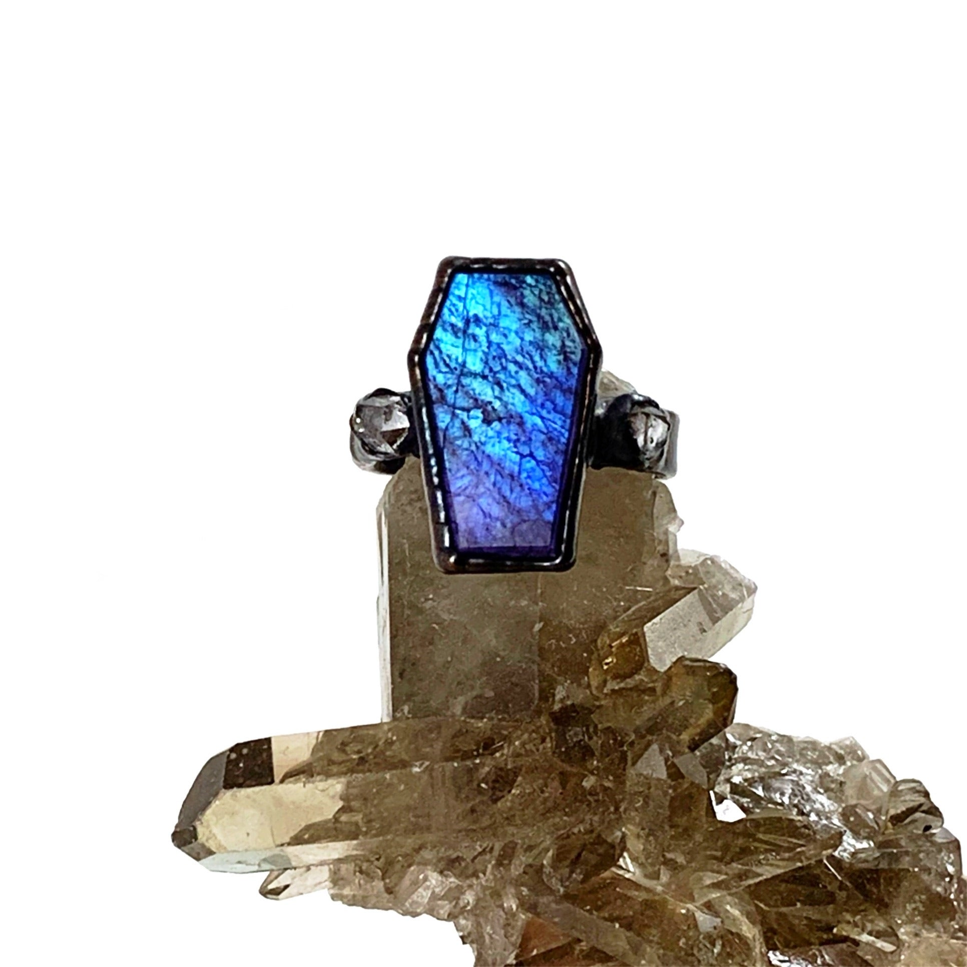 Purple Moonstone Coffin Ring