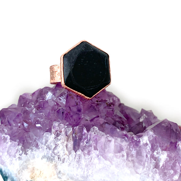 Black Tourmaline Hexagon Moon & Stars Ring