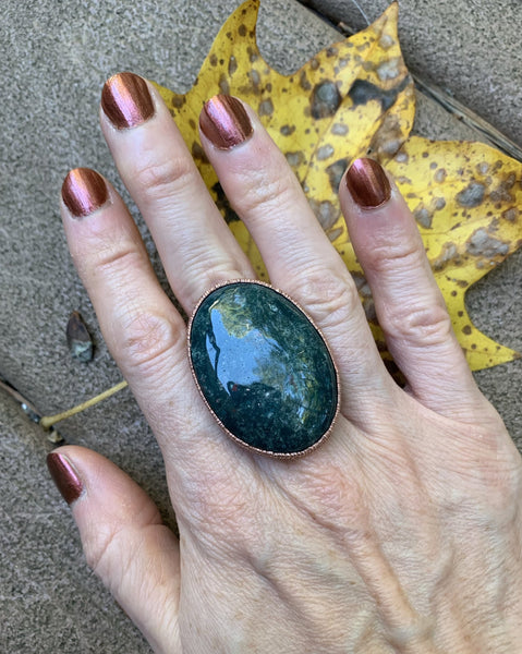 Bloodstone Statement Ring with Moon & Stars Band