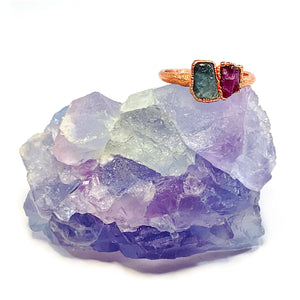 Aquamarine and Ruby Ring | March and July Birthstones
