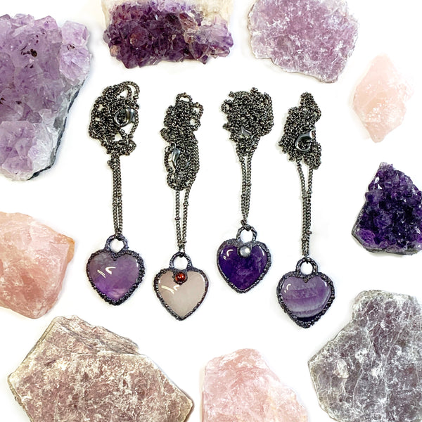 Amethyst & Moonstone Heart Necklace
