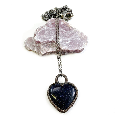 Blue Goldstone Heart Necklace