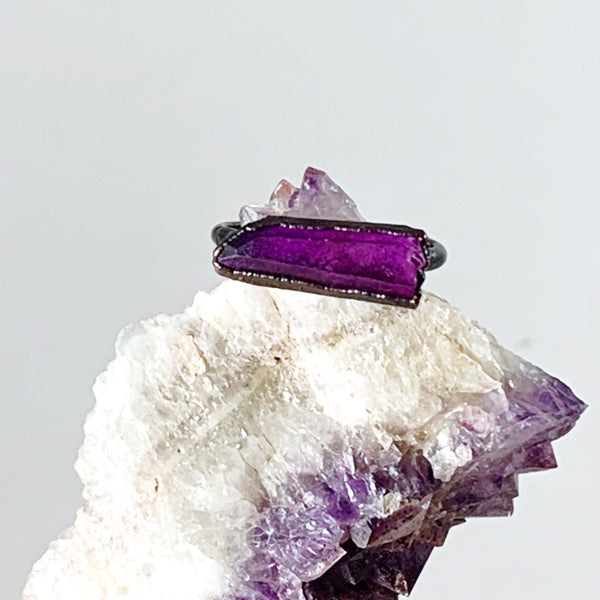 Purple Quartz Bar Ring