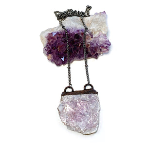 Raw Lepidolite Horizontal Necklace