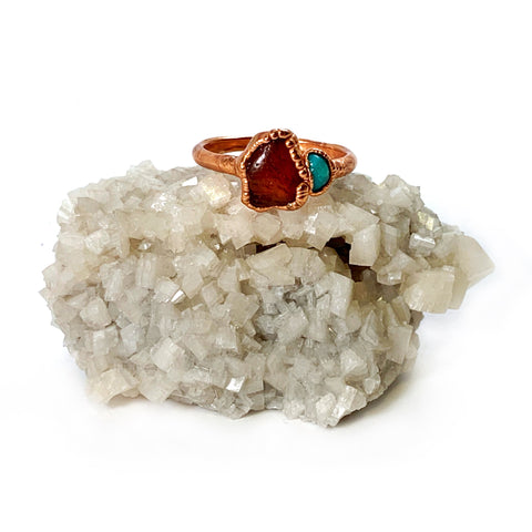 Turquoise and Carnelian Ring