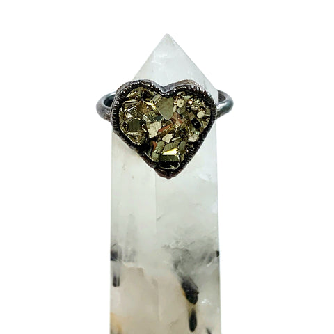 Custom Listing for Marishella: Pyrite Heart Ring