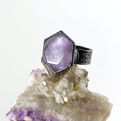 Amethyst Hexagon Moon & Stars Ring