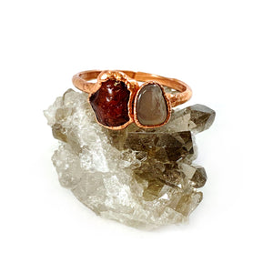 Peach Moonstone and Carnelian Ring