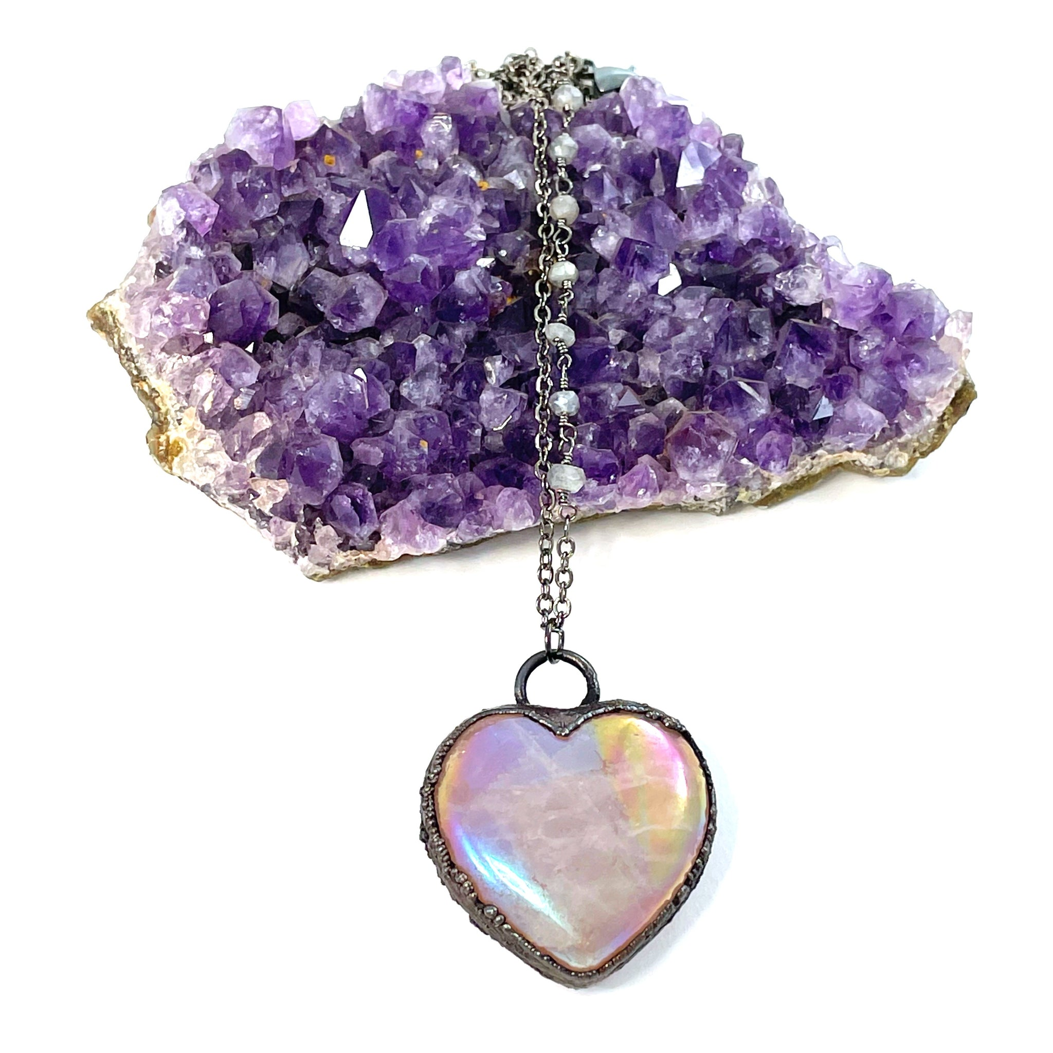 Custom Listing for Becca -Rose Quartz Aura Heart Necklace