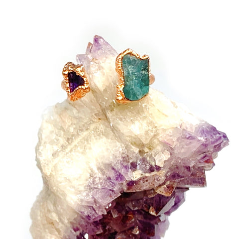 Amethyst and Blue Apatite Ring