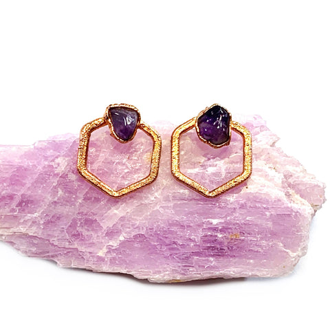 Amethyst Hexagon Stud Earrings | February Birthstone