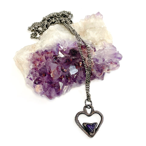 Tiny Amethyst Heart Oxidized Necklace | February Birthstone