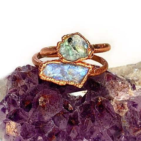 Raw Rainbow Moonstone Ring | June Birthstone