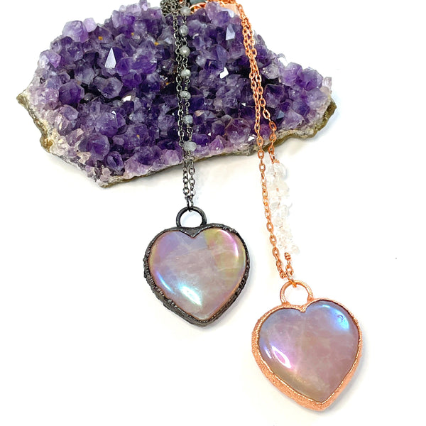 Custom Listing for Nina: Rose Quartz Aura Heart Necklace