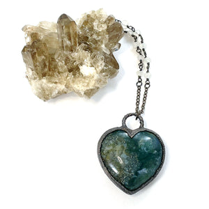 Moss Agate Heart Necklace