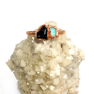 Black Tourmaline and Opal Ring | October Birthstone