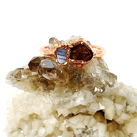 Blue Lace Agate and Citrine Ring