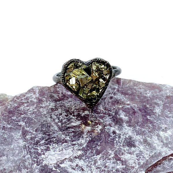Custom Listing for Jo: Pyrite Heart Ring