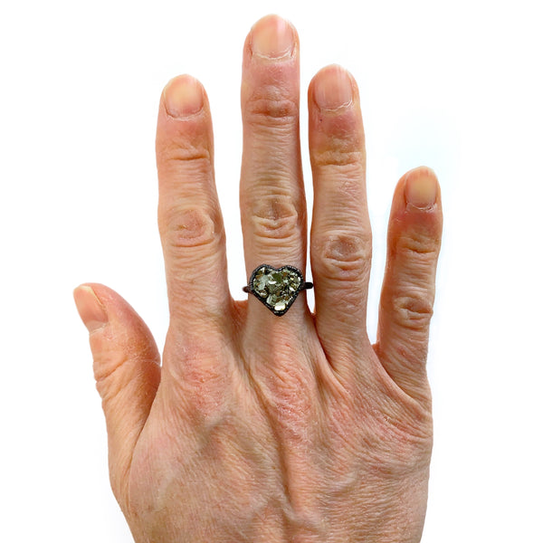 Pyrite Heart Ring