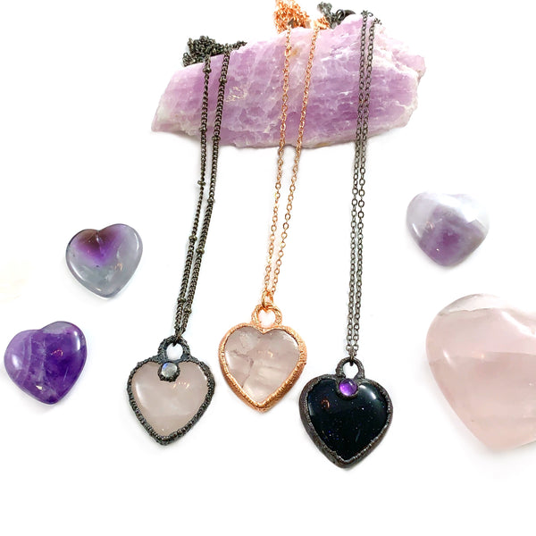 Blue Goldstone & Amethyst Heart Necklace