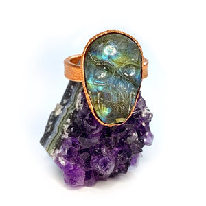 Custom Order for Rashad - Labradorite Skull Ring
