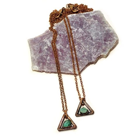 Emerald Triangle Necklace (Oxidized) | May Birthstone