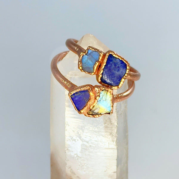 Raw Moonstone and Lapis Lazuli Ring