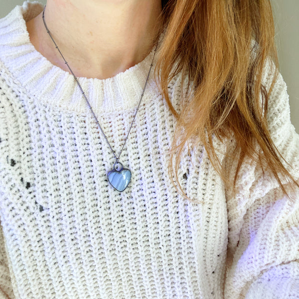 Blue Lace Agate Heart Necklace
