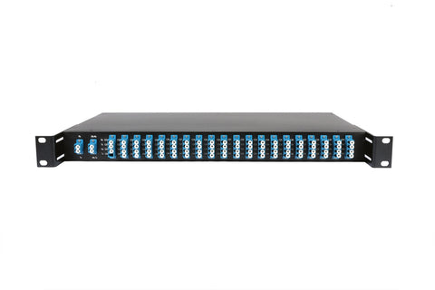 "16CH DWDM MUX+DEMUX in 19""Rack, with Monitor Port and 1310nm Upgrading Port (Industrial Temp: -40 to 85°C)"