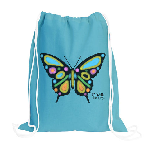 Butterfly Drawstring Backpack w/2 Chalk Markers