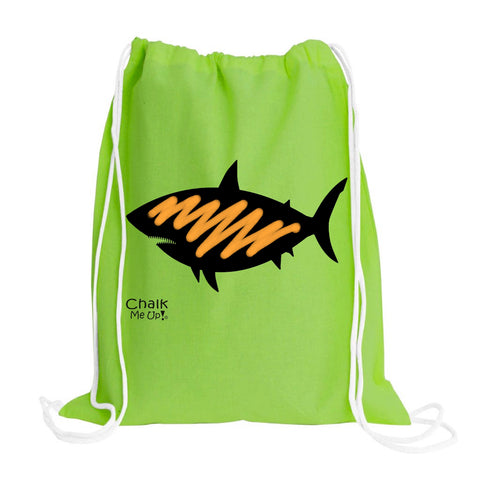 Shark Drawstring Backpack w/6 Pack Box Chalk