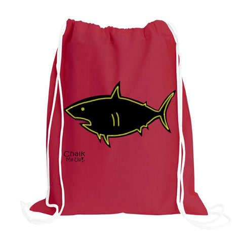 Shark Drawstring Backpack w/2 Chalk Markers