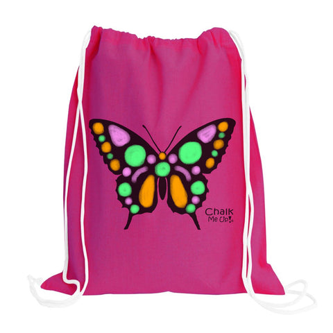 Butterfly Drawstring Backpack w/6 Pack Chalk