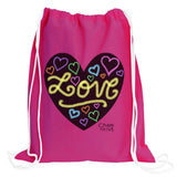 Heart Drawstring Backpack w/6 Pack Box Chalk