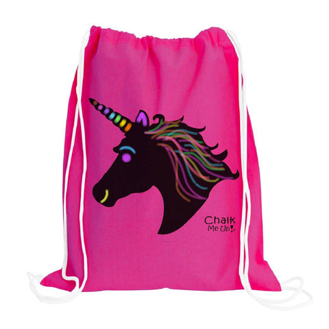 Unicorn Drawstring Backpack w/6 Pack Chalk