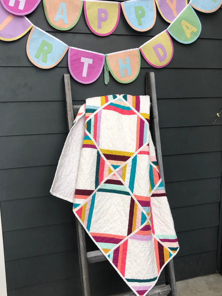Connection Quilt with Birthday Banner