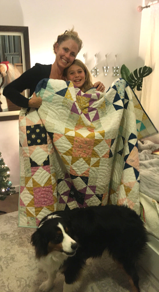 Very impromptu photo with her new Journey Home Quilt