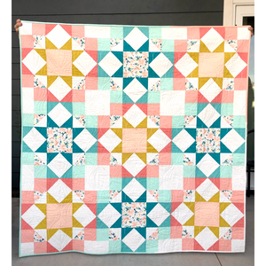 Handmade Journey Home Quilt- Throw size, 100% Cotton, Professionally Quilted