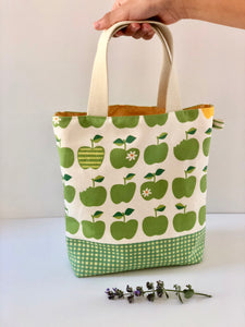Small,  handmade, fully lined tote bag with high end designer Japanese fabric and convenient glasses storage loop-THE RUTHIE