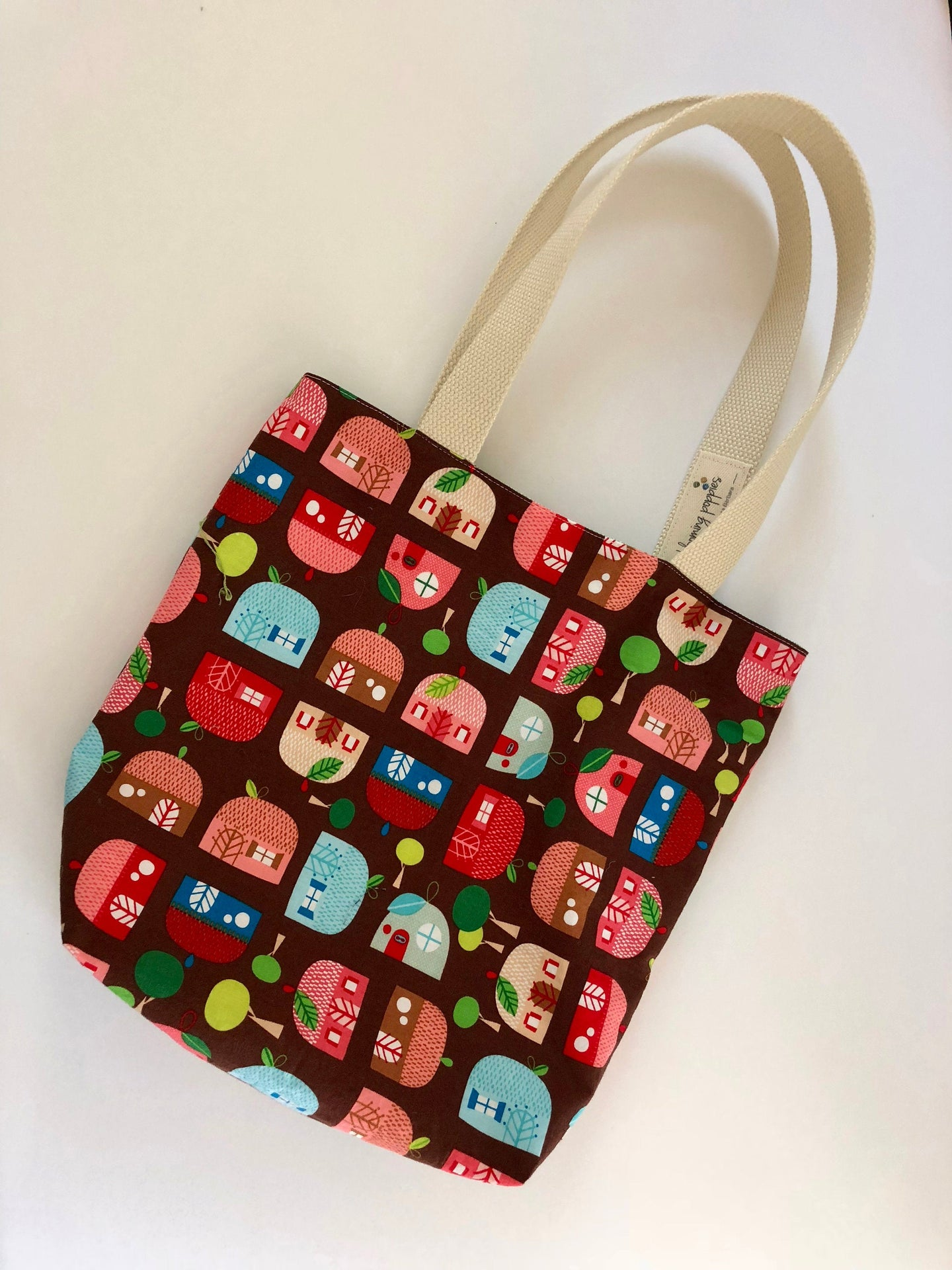 Small, handmade, fully lined tote bag with charming, quirky print- THE RUTHIE