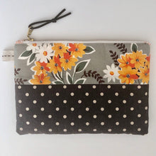 Load image into Gallery viewer, Slim Style Zipper Pouch- Modern, Medium Size, Leather Zipper Pull, High Quality Designer Cotton/Linen Blend- THE GEORGIA