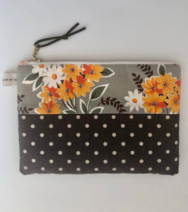 Slim Style Zipper Pouch- Modern, Medium Size, Leather Zipper Pull, High Quality Designer Cotton/Linen Blend- THE GEORGIA