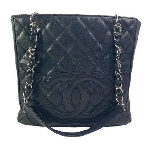 Chanel Quilted Black Caviar Leather Petite Shopper GST