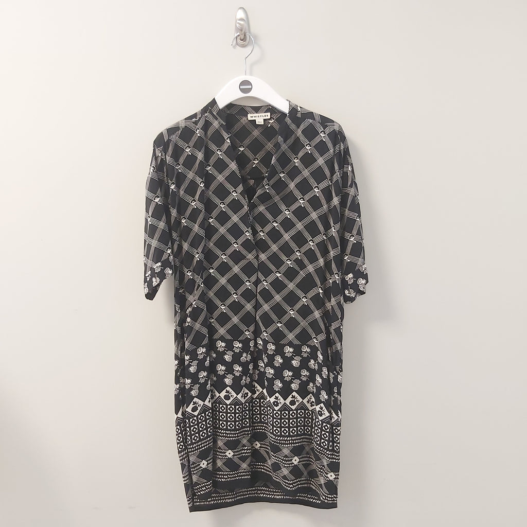 Whistles black/white pattern dress. Size 10