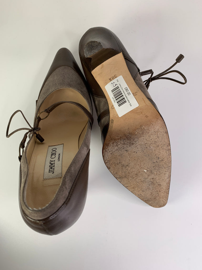 Jimmy Choo Mocha Suede/Leather Size 5.5 C