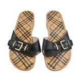 Burberry Black Leather Sandals, Size 4